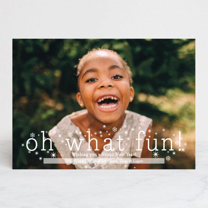 """Oh What Fun"" - Holiday Photo Cards in Snowflake by Abby Munn."