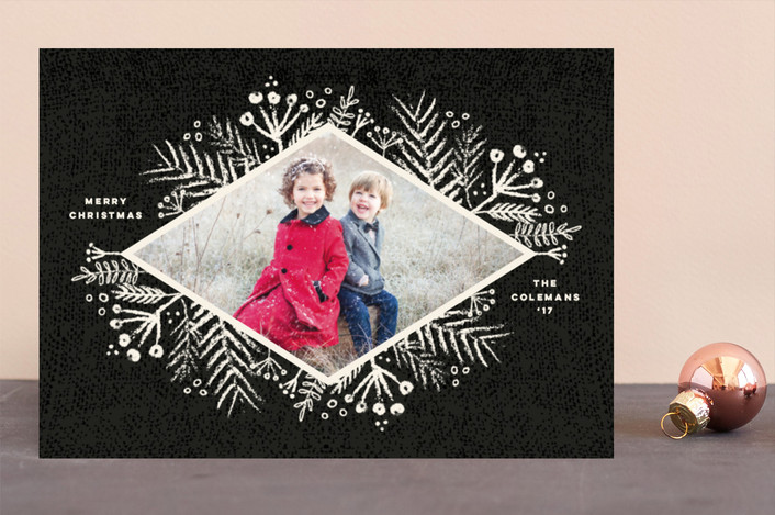"""Rustic Berries"" - Holiday Photo Cards in Charcoal by fatfatin."