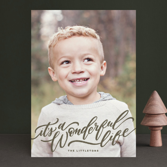 """A Sweet + Wonderful Life"" - Holiday Photo Cards in Winter by Wildfield Paper Co.."