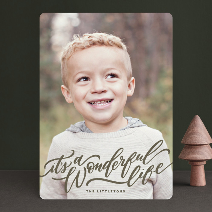 """""""A Sweet + Wonderful Life"""" - Holiday Photo Cards in Earth by Wildfield Paper Co.."""