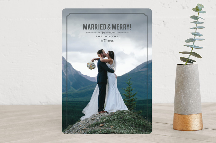 """Married and Merry"" - Elegant, Full-Bleed Photo Holiday Photo Cards in Charcoal by Sara Hicks Malone."