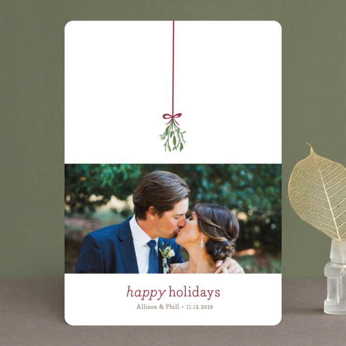 """Mistletoe Kiss"" - Holiday Photo Cards in Holly by roxy."