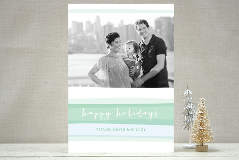 Seasonal Stripes Holiday Photo Cards