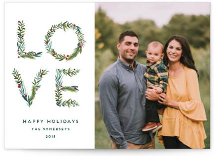 Greenery Love Holiday Photo Cards