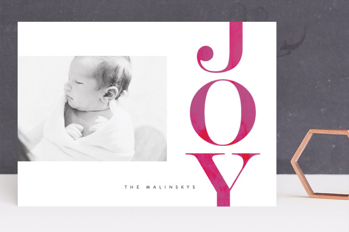 """Oversized Joy"" - Holiday Photo Cards in Magenta by Lori Wemple."