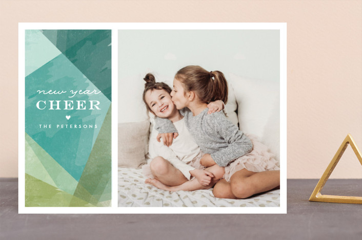 """wrapped watercolor"" - Holiday Photo Cards in Teal by Karidy Walker."
