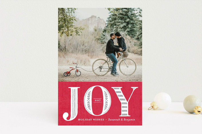 """Vintage Joy"" - Vintage Holiday Photo Cards in Ruby by Griffinbell Paper Co.."