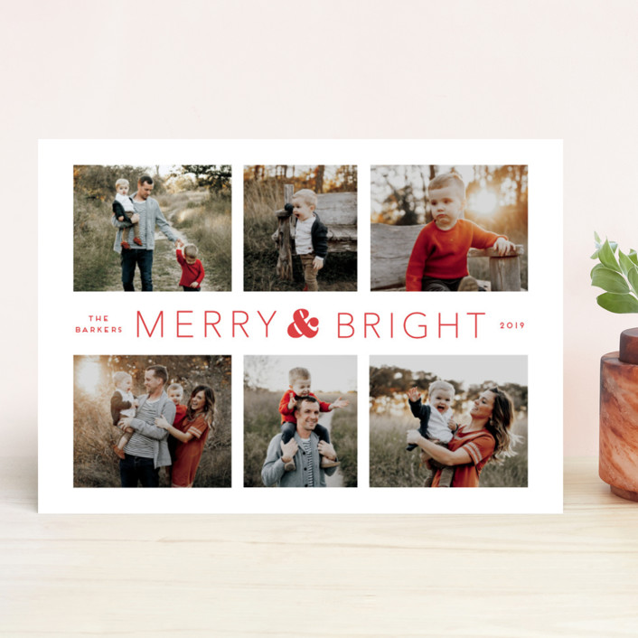"""Holiday Collage"" - Holiday Photo Cards in Stocking by Little Print Design."