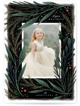 This is a green holiday photo card by Hannah Williams called Midnight Foliage with standard printing on smooth signature in standard.