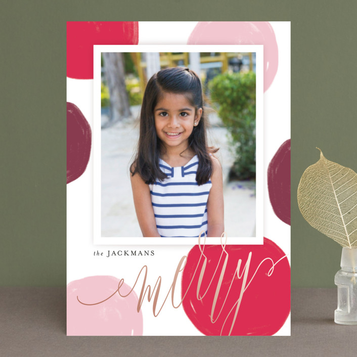 """Big Statement Dots"" - Modern Holiday Photo Cards in Mistletoe by Kristie Kern."
