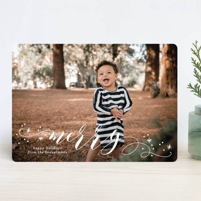 """Jubilant"" - Holiday Photo Cards in Pomegranate by Jessica Williams."