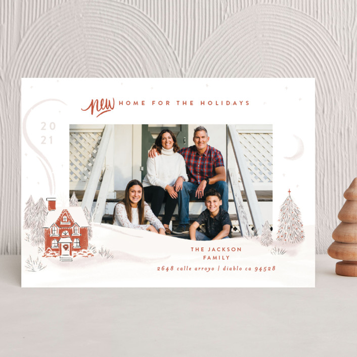"""""""Vintage Cozy Home"""" - Holiday Photo Cards in Pumpkin by Shiny Penny Studio."""