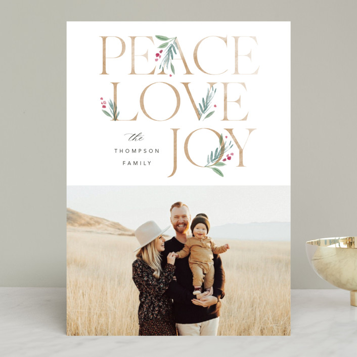 """""""Botanical Swash"""" - Holiday Photo Cards in Snow by Robert and Stella."""