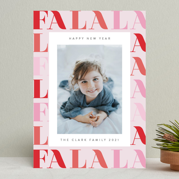 """Pretty Fa La La"" - Holiday Photo Cards in Candy by Ana Sharpe."