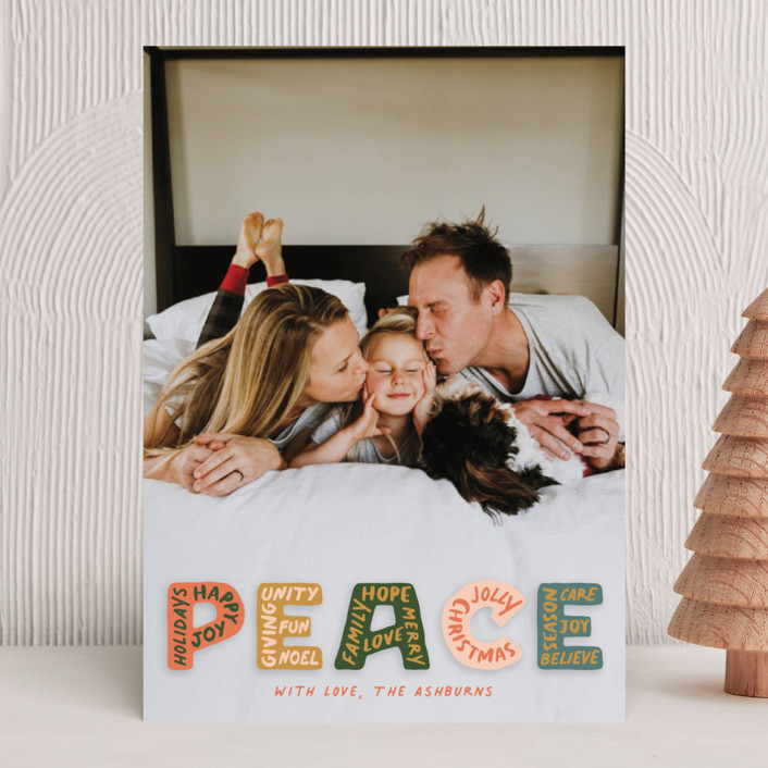 """""""Peaceful Words"""" - Holiday Photo Cards in Earthy by GeekInk Design."""