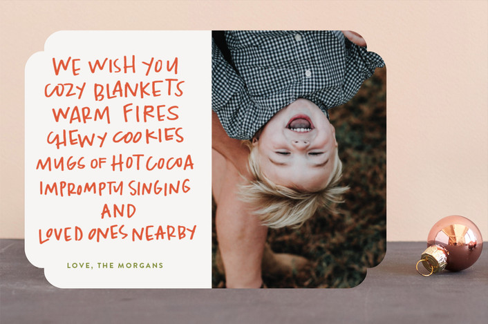 """""""Cozy Blankets"""" - Funny Holiday Photo Cards in Tangerine by Annie Montgomery."""