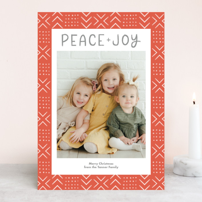 """""""Peaceful Pattern"""" - Bohemian Holiday Photo Cards in Tangerine by Something Noir."""