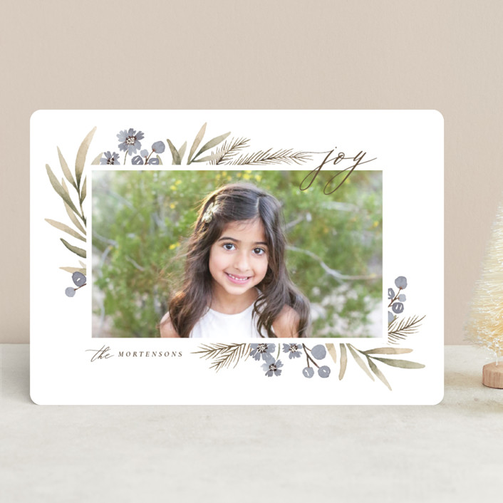 """Holiday Flowers"" - Holiday Photo Cards in Blue Spruce by Wildfield Paper Co.."