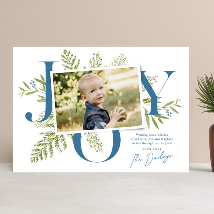 """""""Joy Greenery"""" - Holiday Photo Cards in Blueberry by Oscar and Emma."""