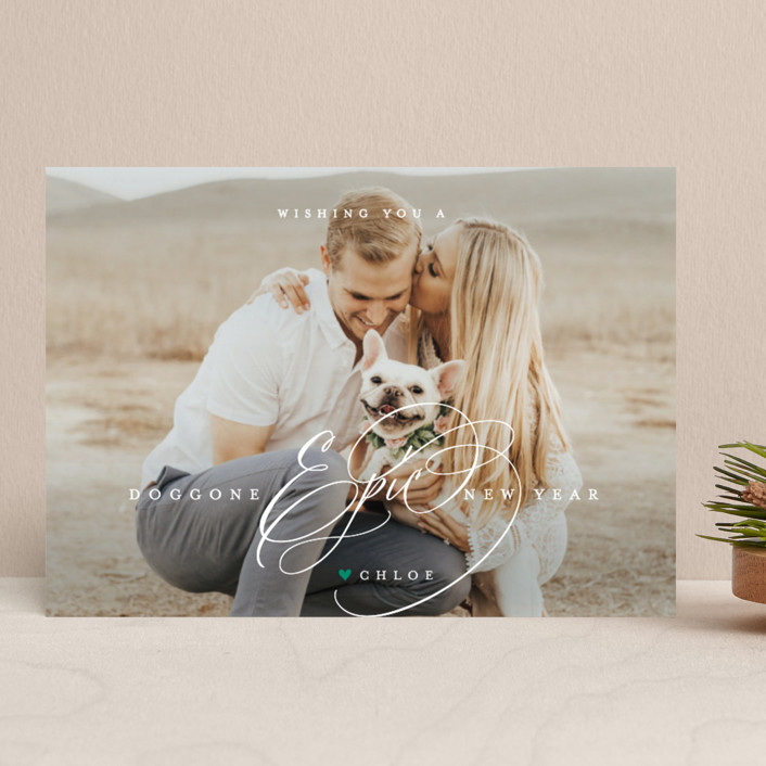 """pawsitively blessed"" - Holiday Photo Cards in Pine by Guess What Design Studio."