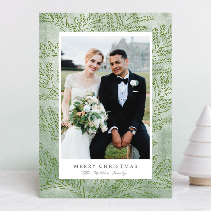 """""""First Holiday"""" - Holiday Photo Cards in Cedar by Owl and Toad."""