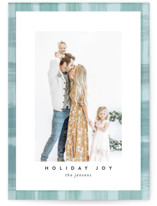 This is a blue holiday photo card by Susan Moyal called Joyful Plaid with standard printing on smooth signature in standard.