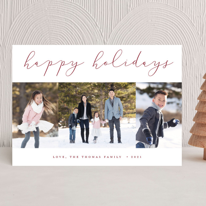 """""""Calligraphy Trio"""" - Holiday Photo Cards in Cranberry by Stacey Meacham."""
