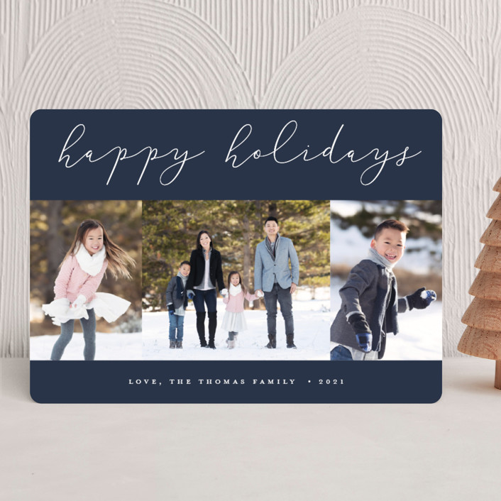 """""""Calligraphy Trio"""" - Holiday Photo Cards in Navy by Stacey Meacham."""