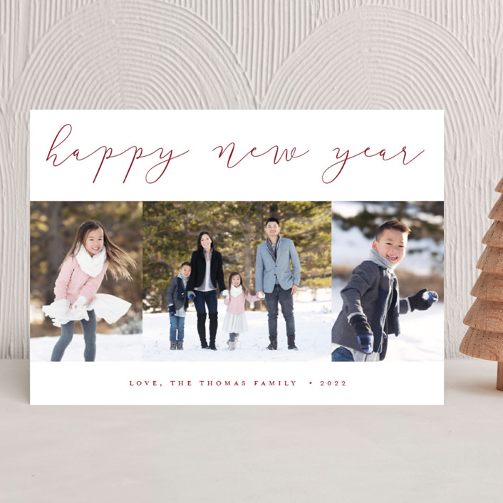 """Calligraphy Trio"" - Holiday Photo Cards in Cranberry by Stacey Meacham."