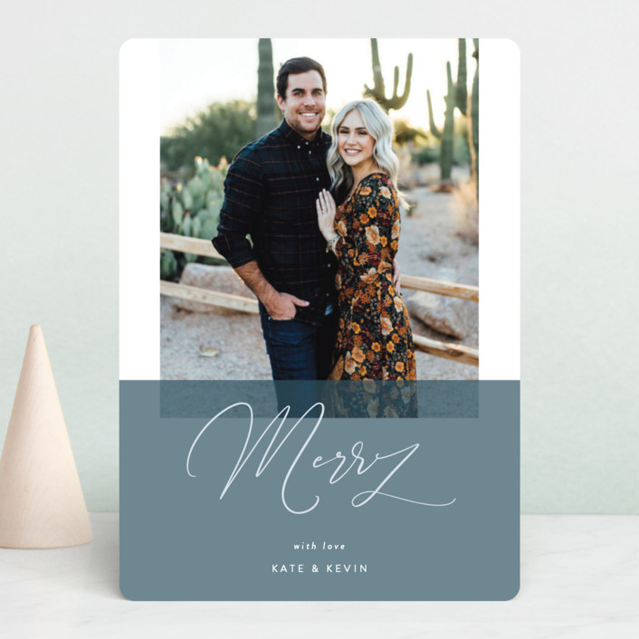 """To Be Merry"" - Holiday Photo Cards in Hunter by Kasia Labocki."