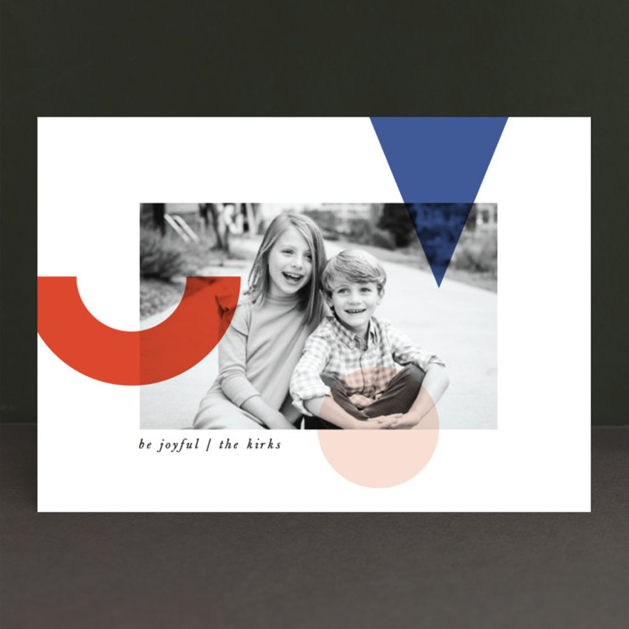 """Deconstructed Joy"" - Modern Holiday Photo Cards in Cobalt by Cheer Up Press."
