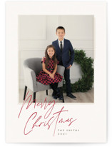 This is a pink holiday photo card by Carolyn Nicks called vintage shot with standard printing on smooth signature in standard.