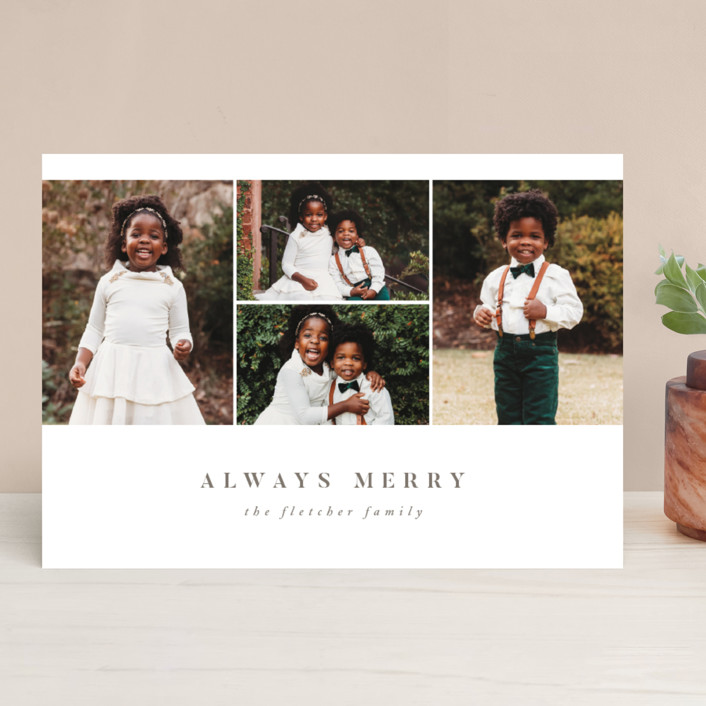 """Always Merry"" - Holiday Photo Cards in Slate by Ink and Letter."