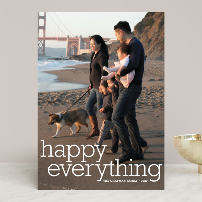 """""""Happy Everything"""" - Holiday Photo Cards in Snow by annie clark."""
