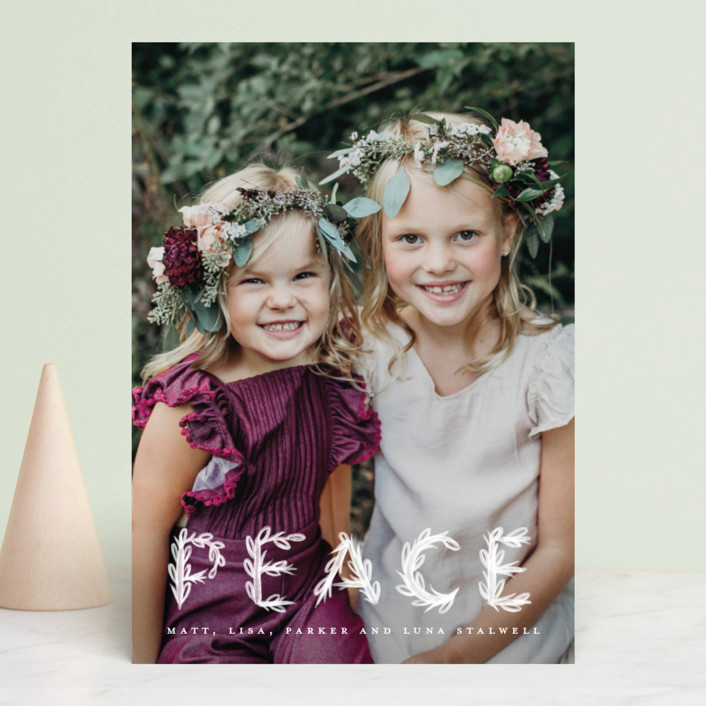 """""""Heavenly Peace"""" - Bohemian Holiday Photo Cards in Dove by Pink House Press."""