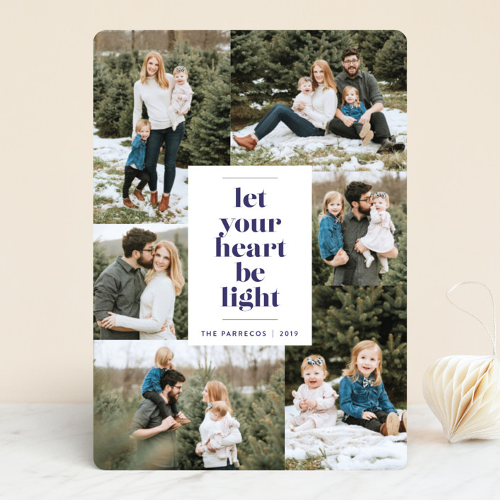 """Be Light"" - Holiday Photo Cards in Twilight by Design Lotus."