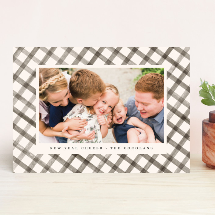 """""""Buffalo Check"""" - Modern Holiday Photo Cards in Caramel by Julie Murray."""