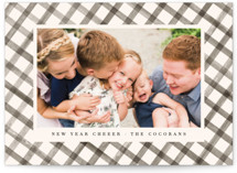 This is a brown holiday photo card by Julie Murray called Buffalo Check with standard printing on smooth signature in standard.