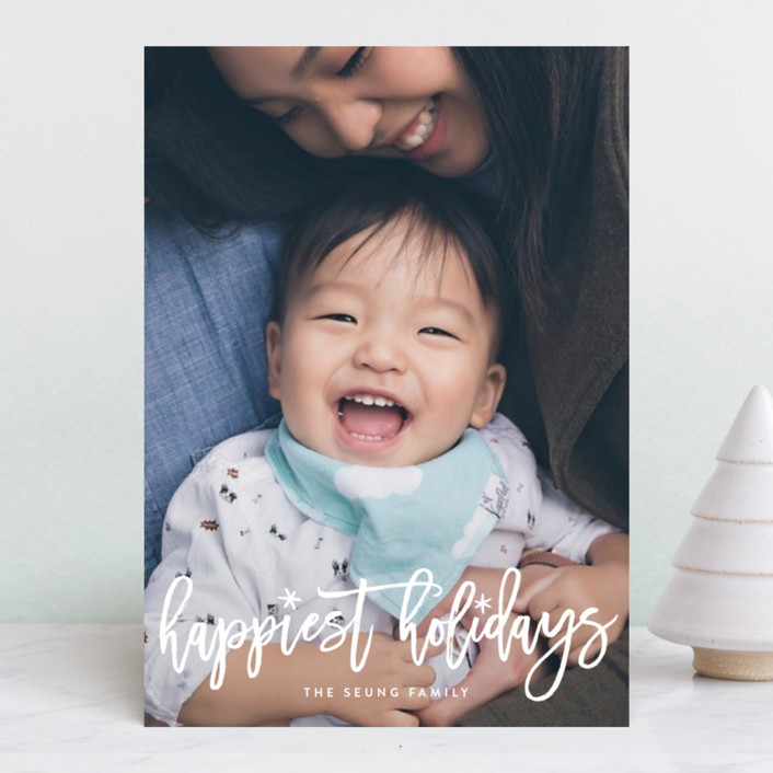 """Fun Holiday Script"" - Holiday Photo Cards in Snow by Hooray Creative."