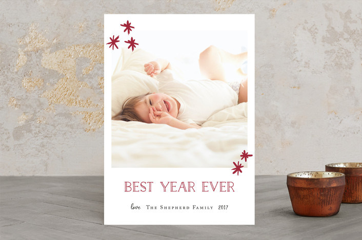 """""""Shimmery Christmas"""" - Holiday Photo Cards in Berry Red by Kate Ross."""