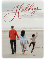 This is a red holiday photo card by Melanie Kosuge called Sweeping with standard printing on smooth signature in standard.