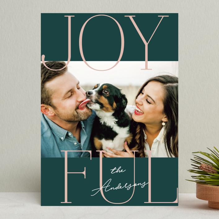 """Joyful Serif"" - Holiday Photo Cards in Pine by Kerry Doyle - Paper Dahlia."