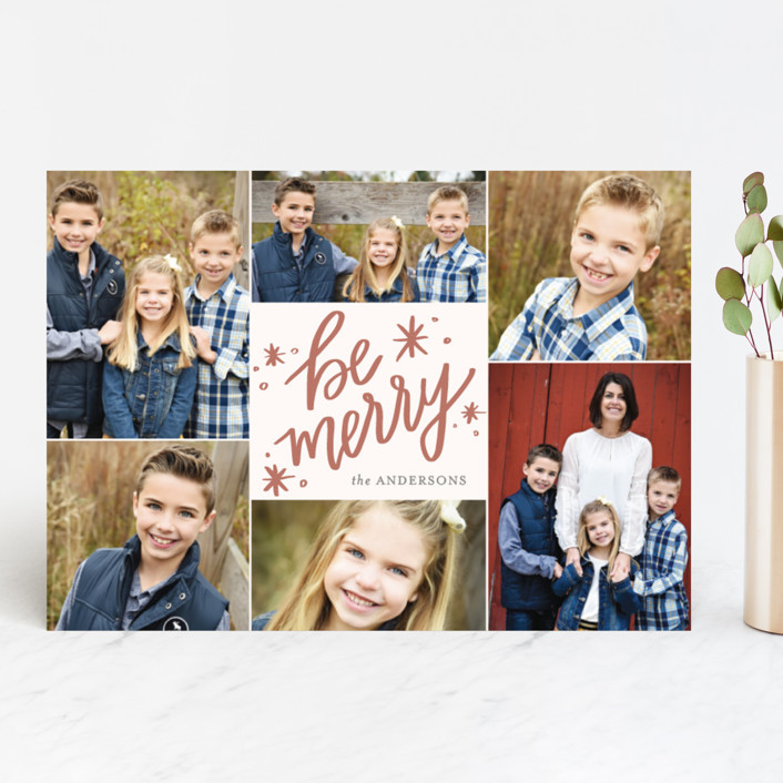 """So Merry Collage"" - Holiday Photo Cards in Winter Rose by Little Print Design."