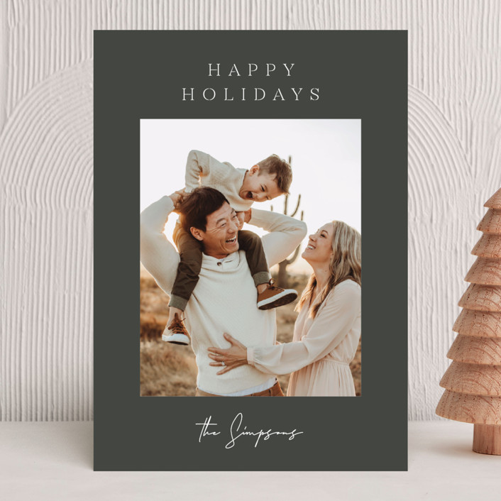 """""""The Classic"""" - Holiday Photo Cards in Midnight by Sara Hicks Malone."""