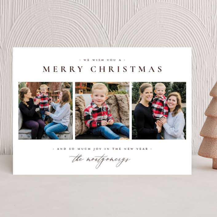 """Classic Christmas"" - Holiday Photo Cards in Wine by Wildfield Paper Co.."