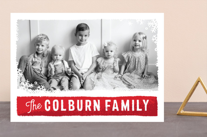 """Holiday Panels"" - Vintage Holiday Photo Cards in Cardinal by GeekInk Design."