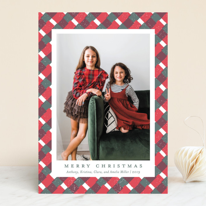 """""""Holiday Gingham"""" - Holiday Photo Cards in Mistletoe by Meggy Masters."""