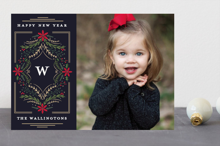 """Botanical Monogram"" - Holiday Photo Cards in Navy by Susan Moyal."