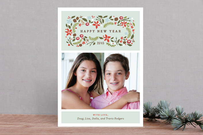 """""""Blushing Christmas"""" - Rustic/Craft Holiday Photo Cards in Mint by Jennifer Wick."""