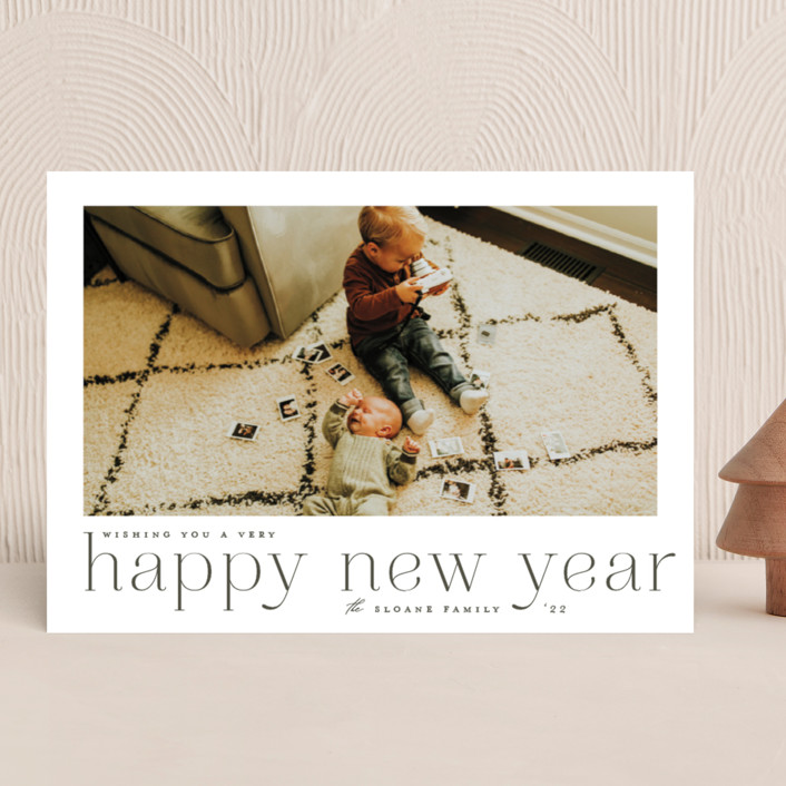 """""""large headline"""" - Holiday Photo Cards in Olive by Carolyn Nicks."""